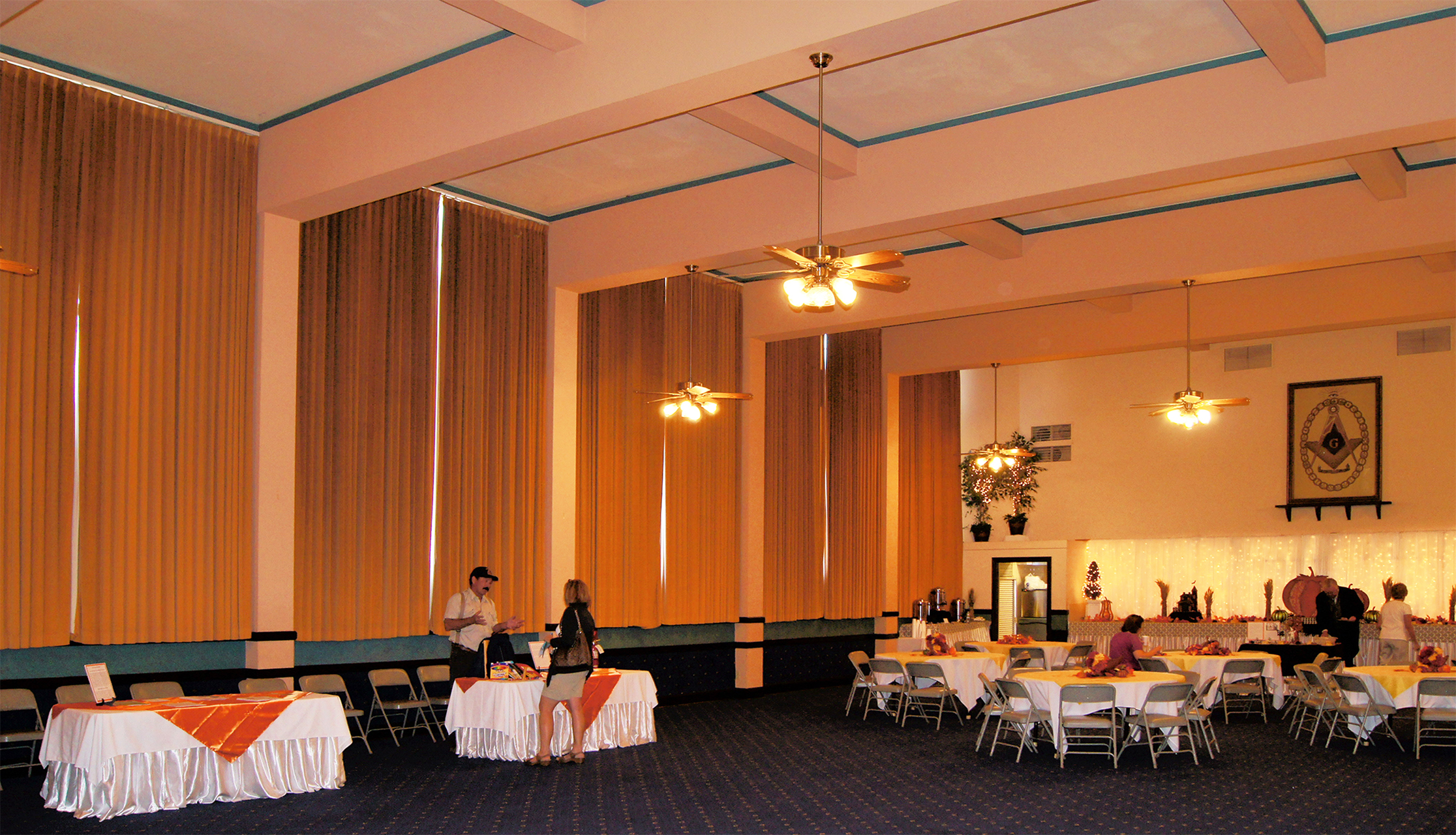 Dining room on the first floor of the masonic lodge the dining room