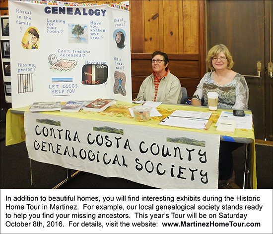The 2015 booth of the Contra Costa County Genealogical Society during the Martinez Home Tour.