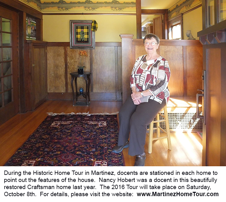 Docent Nancy Hobert poses in the restored Carlock/McLeod home in 2015 during the Historic Home Tour.