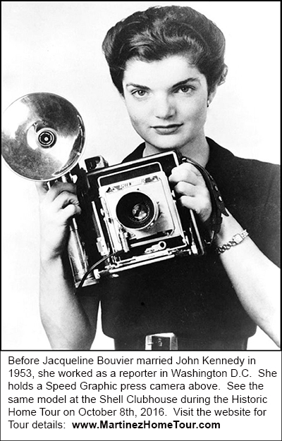 Jacqueline Bouvier circa 1952 with a Speed Graphic Press Camera.